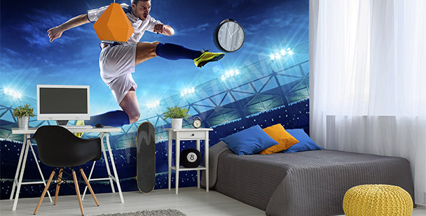 Boy's room football mural