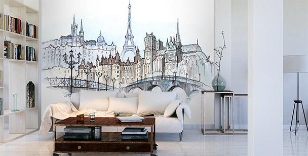 Bridge in Paris mural