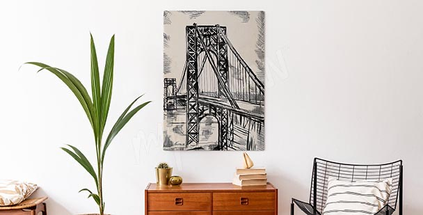 Bridge sketch canvas print