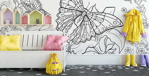 Butterfly wall mural for coloring