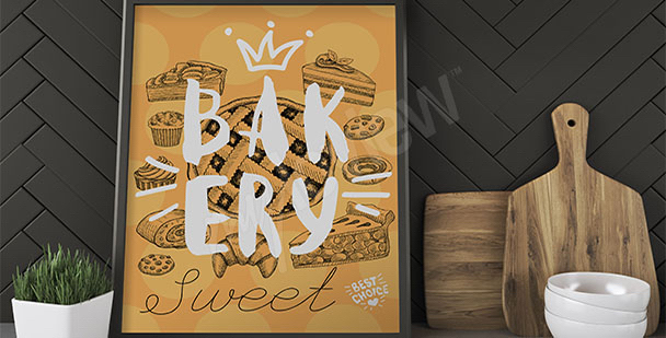Cakes and pastries kitchen poster