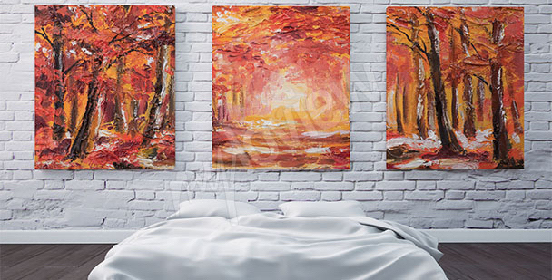 Canvas print featuring fall trees