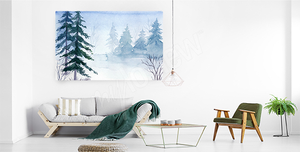 Canvas print featuring spruces