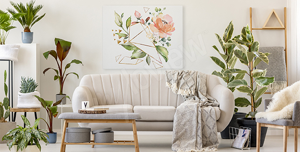 Canvas print flowers and geometry