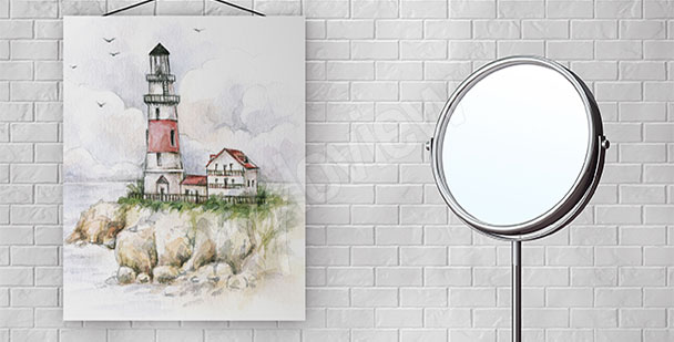 Canvas print for bathroom lighthouse