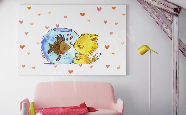 Canvas print for children cat and fish