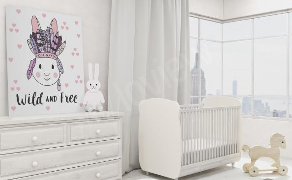 Canvas print for children with a bunny