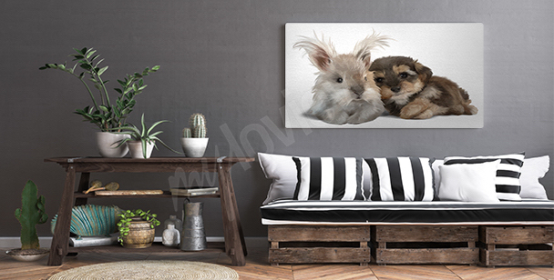 Canvas print of animals in watercolors