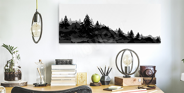 Canvas print with a forest for the office