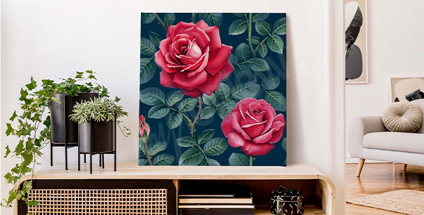 Canvas print with a romantic motif