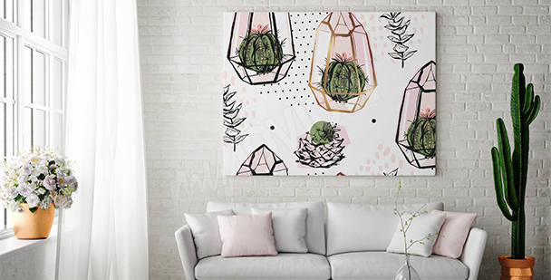 Canvas print with cactuses