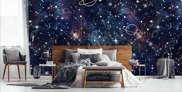 Cartoon galaxy mural