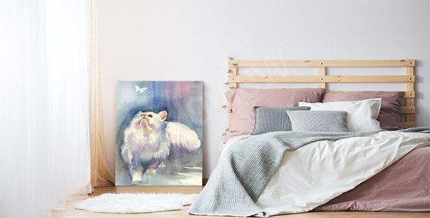 Cat chasing butterfly canvas print