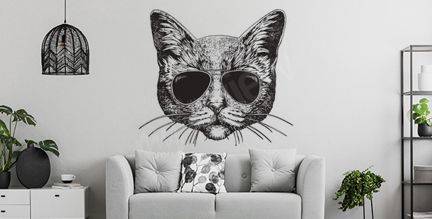 Cat living room sticker