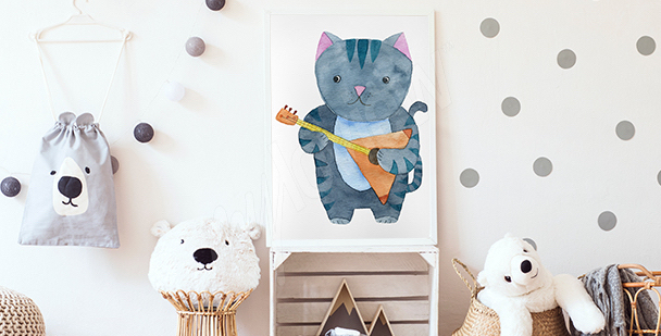 Cat musician poster for a child's room
