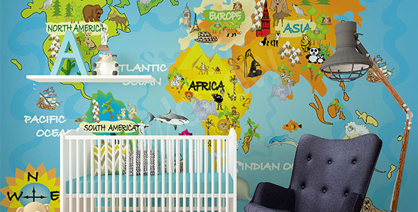 Children's map mural