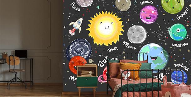 Children's planets mural