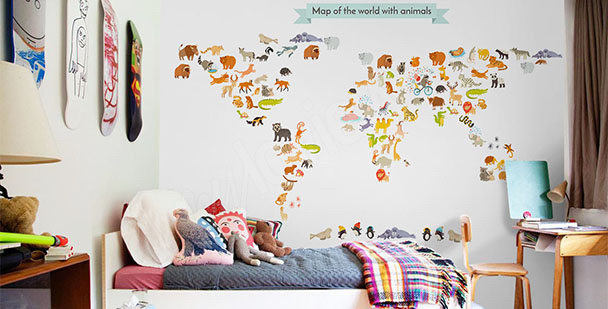 Children's world map mural