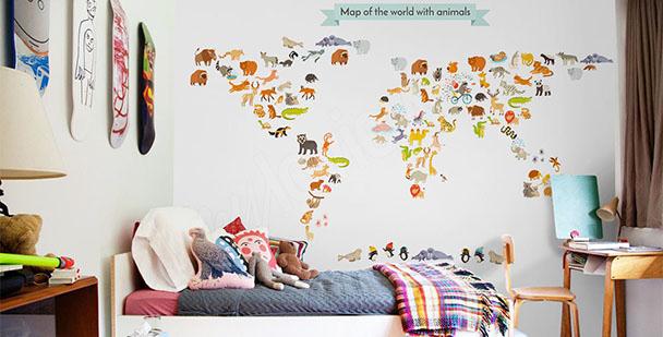 Children's world map mural