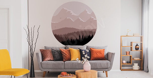 Circular forest sticker