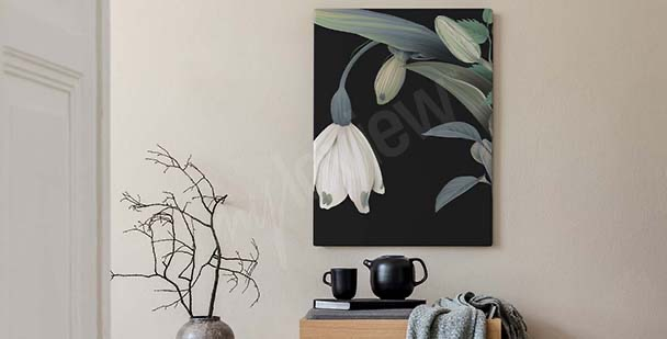 Classical style floral canvas print