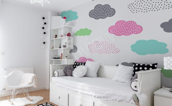 Clouds mural for a little girl