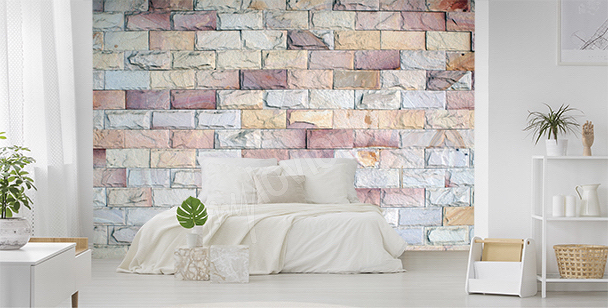 Colorful bricks mural