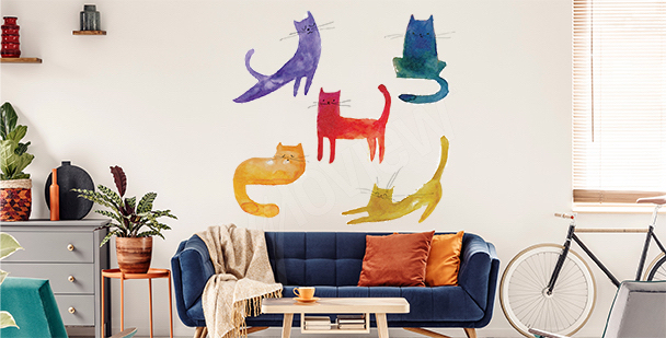 Colorful cats sticker