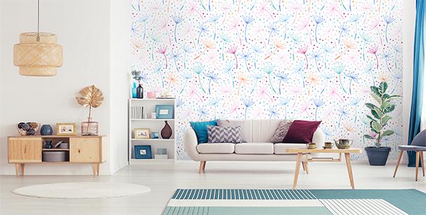 Colorful dandelion flowers mural