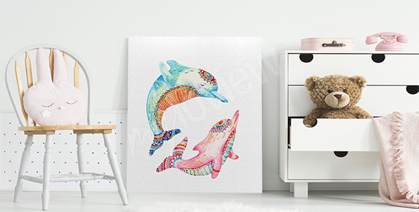 Colorful dolphins canvas print