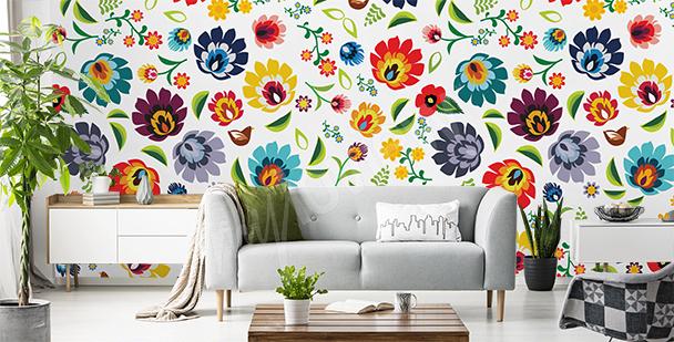 Colorful folk mural