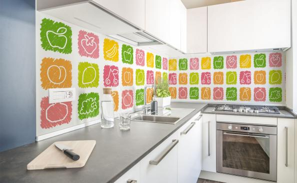 Colorful fruit wall mural for kitchen