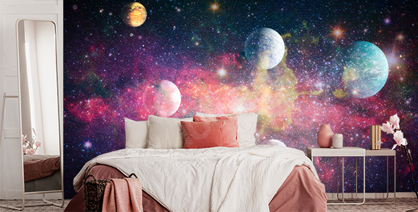 Colorful galaxy-style mural