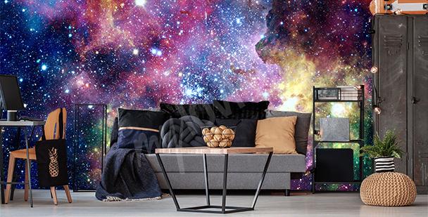 Colorful nebulas mural