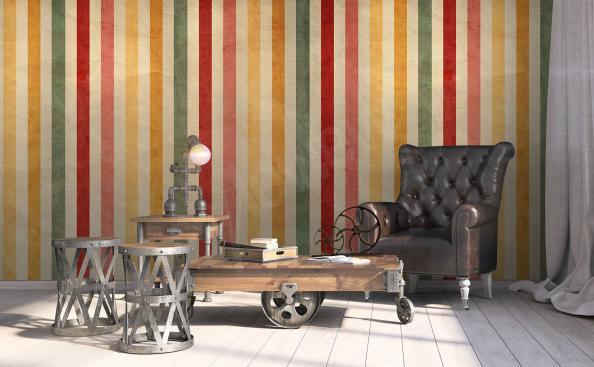 Colorful retro stripes mural