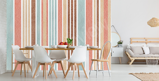 Colorful vertical stripes mural