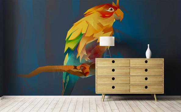 Colourful birds mural