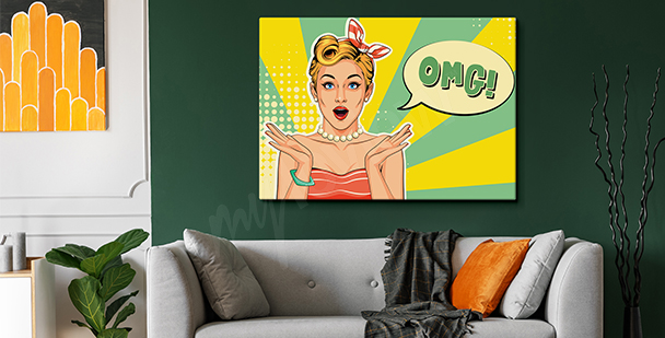 Colourful comic-style canvas print