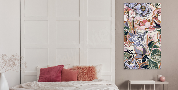 Colourful floral style canvas print
