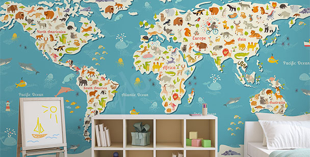 Colourful map mural