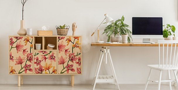 Colourful stickers with flowers