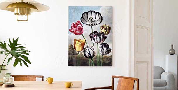 Colourful tulip against the sky canvas print