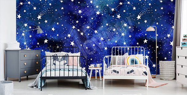 Outer space galaxy mural