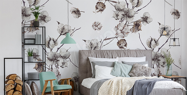 Cotton twigs mural