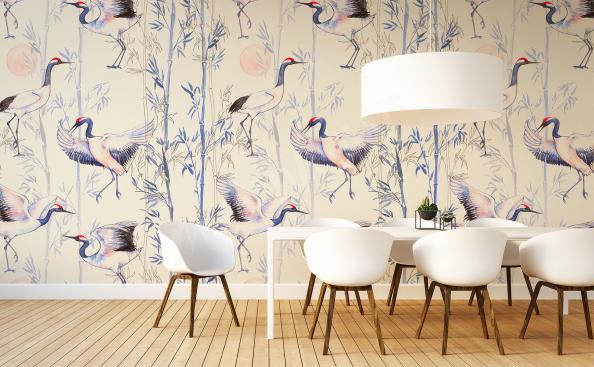 Crane birds mural