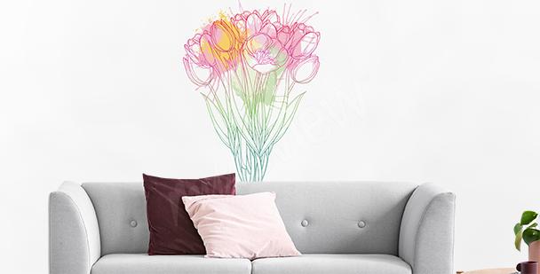 Crayon tulips sticker