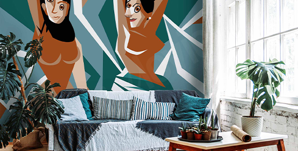 Cubist-style wall mural