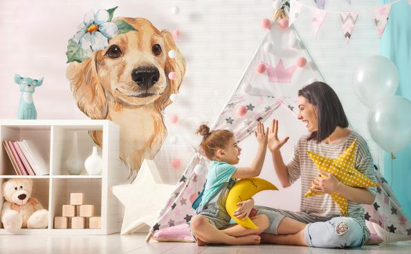 Cute dog sticker for the children's room