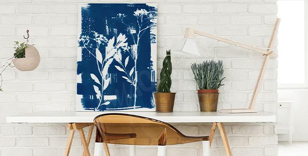 Cyanotype vegetation canvas print