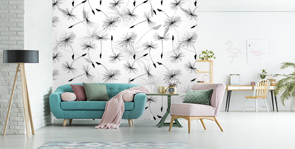Black and white dandelions mural